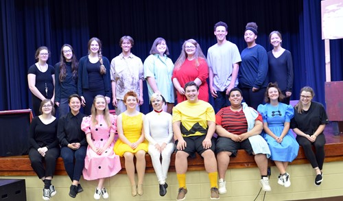 "The cast and crew of ""You're a Good Man, Charlie Brown."""