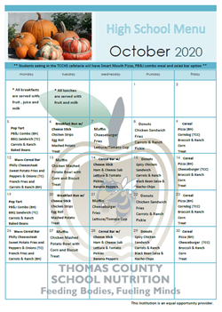 October High Menu