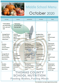 October Middle Menu