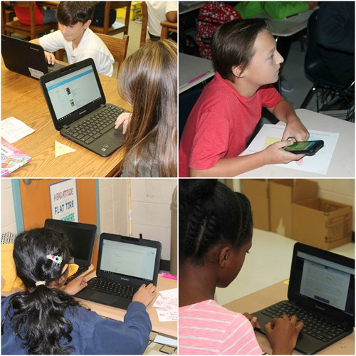 Middle School students using technology for learning
