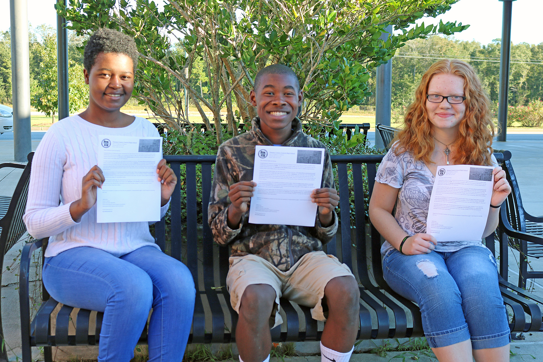 "TCCHS ""Splendors of the Mediterranean"" scholarship recipients include: (left to right) Za'Miriya Sneed, Shadrick Hollis and Katelyn Watson.  Not pictured are Abigail Beamon and Britney White."
