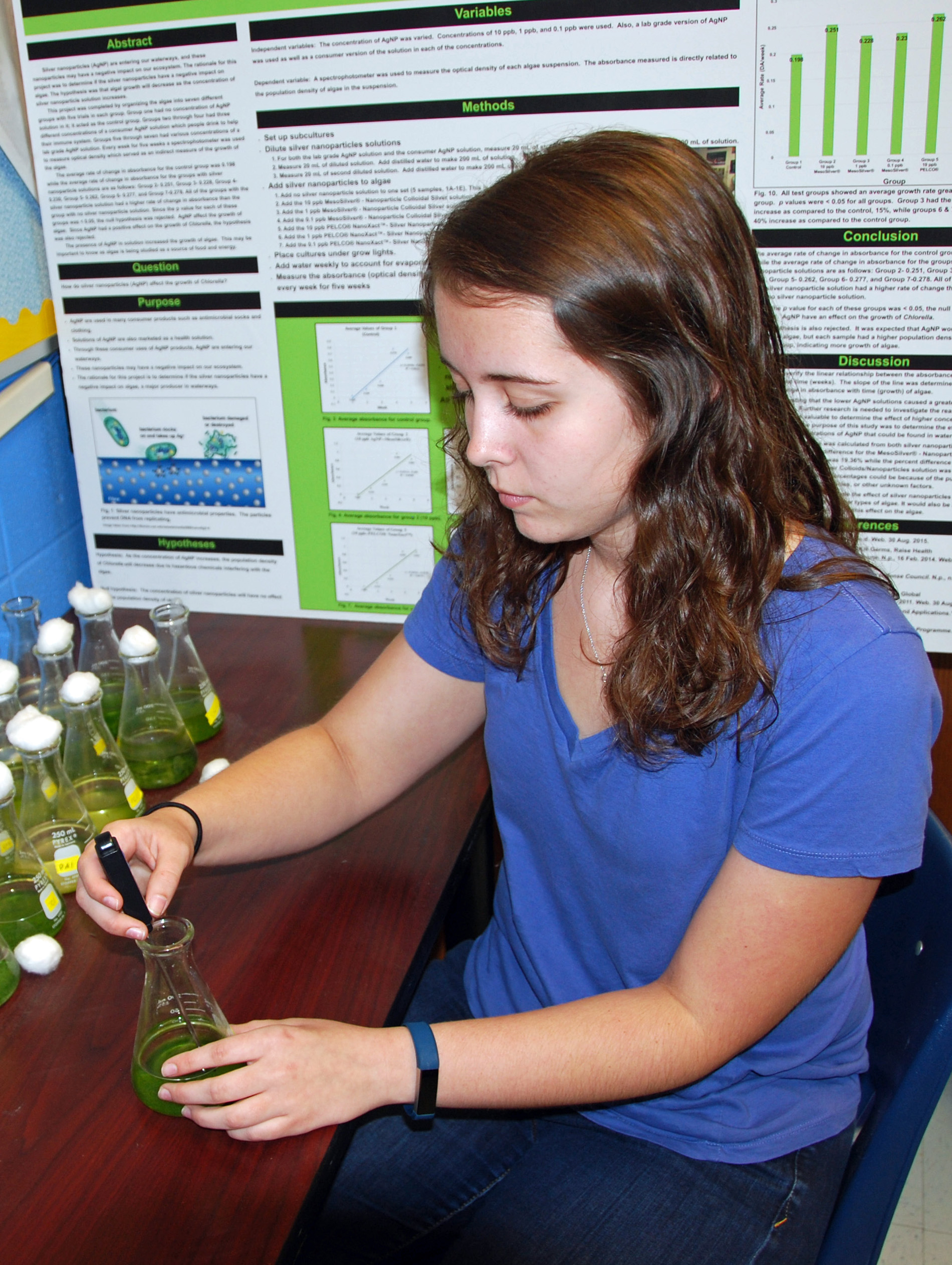 TCCHS student C'lee Kornegay has been chosen to attend this summer's Governor's Honors Program in the field of science. Here, Kornegay monitors the growth of algae for her experiment on how diversity affects algal response to ocean acidification.
