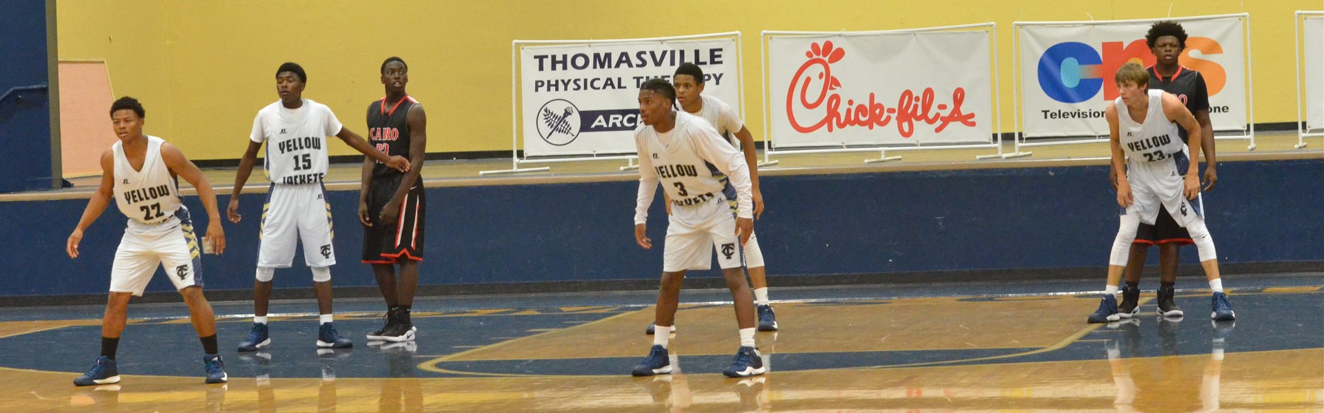 TCCHS boys basketball team sets up to play defense against Cairo High school in their game on December 9.