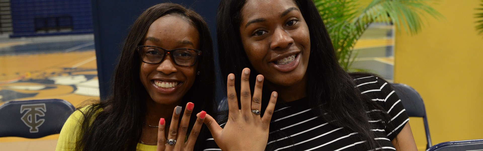 Students receive class rings.