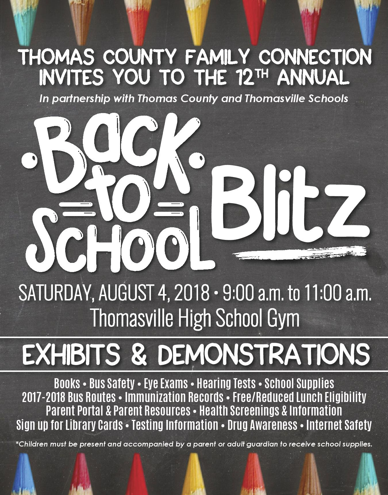 Back to School Blitz - August 4, 2018 at Thomasville High School from 9:00-11:00 AM