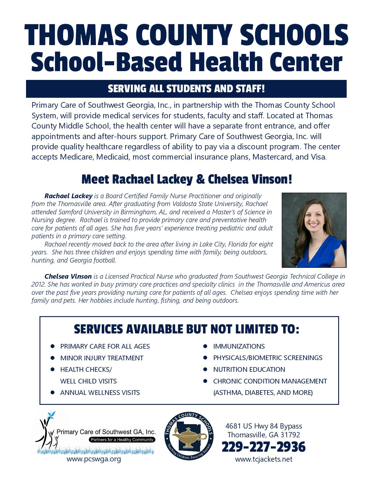 School-based health center flyer