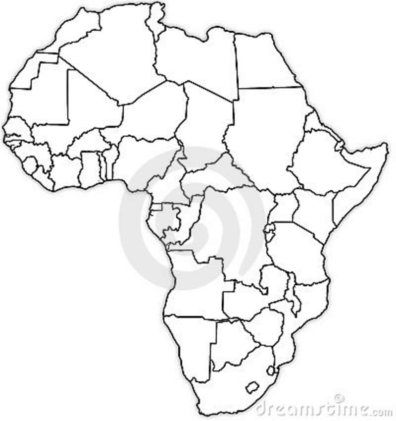 Free coloring pages of blank map of africa